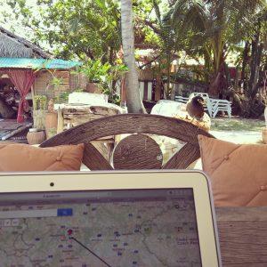 Arbeiten im Strandcafe auf Koh Samui